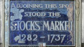 Old-timey stock market sign